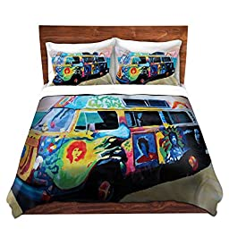 Duvet Covers Premium Woven Twin, Queen, King from DiaNoche Designs by Markus Bleichner Unique, Cool, Fun, Funky, Artistic, Designer, Stylish Home Decor and Bedroom Bedding Ideas - Here Comes the Sun Volkswagon Bus