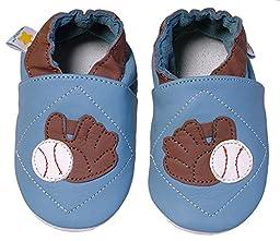 Ministar Boys Infant Toddler Prewalker Leather Shoe - Blue Baseball - Medium 6-12 mo.