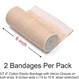 "GT 6"" Cotton Elastic Bandage with Velcro Closure on both ends, 6 inches wide x (13 to 15 ft. when stretched), 2 Pack"