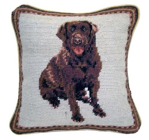 Chocolate Labrador Retriever Dog Needlepoint Throw Pillow 10