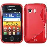 PhoneNatic Samsung Galaxy Y Hülle Silikon rot S-Style Case Galaxy Y Tasche + 2 Schutzfolien