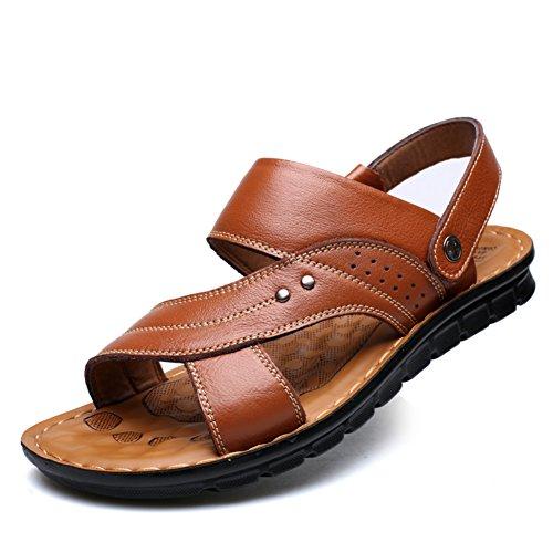 Sandali uomo/Traspirante scarpe/ massaggi scarpe/Scarpe da spiaggia/Antiscivolo comfort casual scarpe in pelle-C Lunghezza piede=23.8CM(9.4Inch)