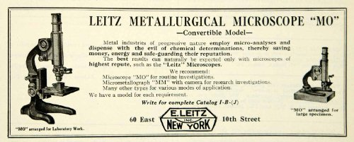 1922 Ad E Leitz Mo Metallurgical Microscope Science Laboratory Equipment Device - Original Print Ad