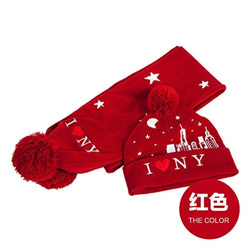 Dngy* I bambini hat sciarpa due kit spessore invernale caldo per i ragazzi e le ragazze a copertura della maglieria kit cappuccio rosso ,