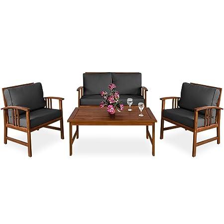 Lounge Sitzgruppe ATLAS inkl Auflagen Kissen Anthrazit Gartengarnitur Gartenmöbel Akazienholz Sitzgarnitur Gartenset