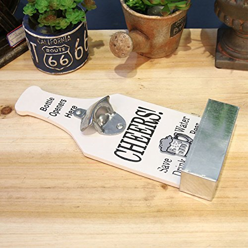 Creative American Country Wall Bottle Opener Vintage Retro Beer Shaped Wall Mounted Bottle Openers Cap Catcher Home Decor (white) 3