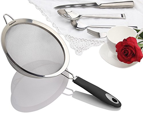 Perfect CHRISTMAS Gift! Strain Seeds Sift Flour Wash Food With Ease! Best Stainless Steel Fine Mesh Strainer, 8 inch Colander Sieve + Heat Resistant & Strong Handle! (Fine Mesh Fryer Basket compare prices)