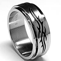Barbwire Stainless Steel Spinner Ring size 9