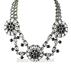 Simulated Gemstone Colar Hollow Out Jewelry Statement Necklace Colares