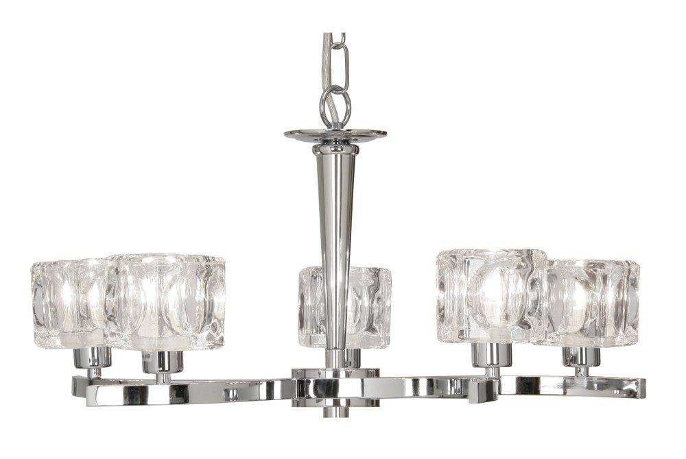 Oaks Lighting Tao Deckenleuchte, 5-flammig, mit transparenten Glasschirmen in Würfelform, Chrom