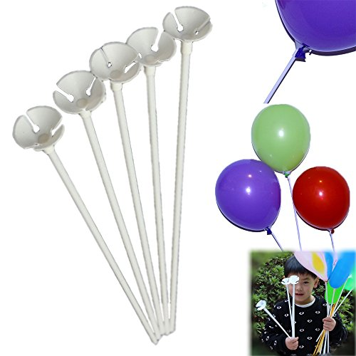 Dazzling Toys White Balloon Sticks with Cup - Pack of 72 (6 DOZEN)