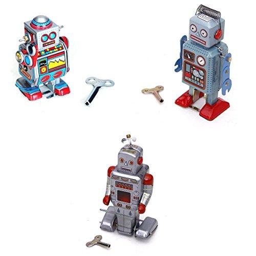 Jouets Mécaniques Anciens Robot en Métal Collection Cadeaux Enfants 3 Styles