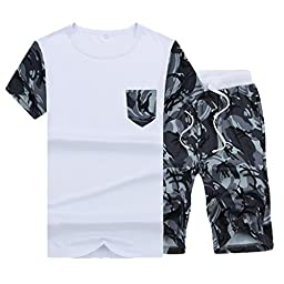 Men\'s Fashion Casual Sportwear T-Shirt + Printed Shorts Camouflage Pants Suits M White