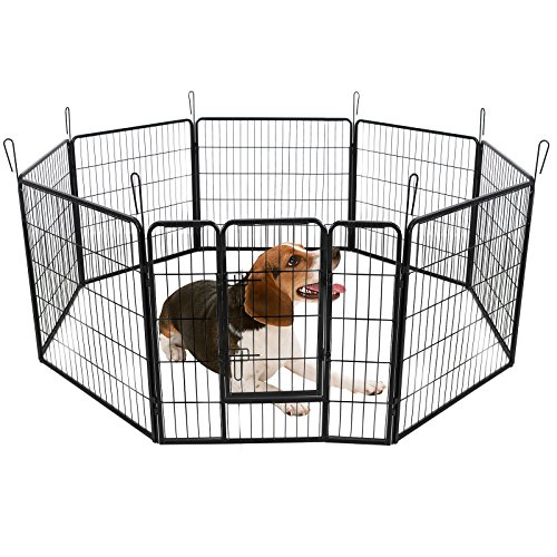 Songmics recinzione recinto per cani conigli animali di ferro l 80 x 80 cm nero ppk88h - Recinto mobile per cani ...