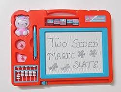 Magic Slate + Black Slate Chalk Board,double sided slate magic + chalk slate (color may vary)