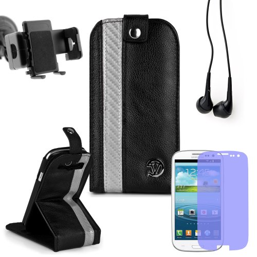 Reinforced Samsung Galaxy S3 I9300 Leather Case Cover With Stand - ( Vangoddy Repetto Silver Carbon Fiber Design ) + Custom Samsung Galaxy S3 Screen Protector + In Car Samsung Galaxy S3 Vehicle Mount + Black Earbud Earphones