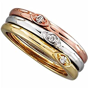 14K Tricolor Diamond Stackable Ring