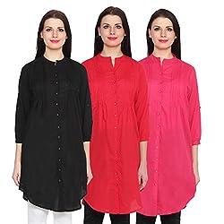 NumBrave Black, Red & Darkpink Long Cotton Top (Pack of 3)