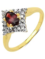 1.90 Grams Garnet & White Cubic Zirconia Gold Plated Brass Ring