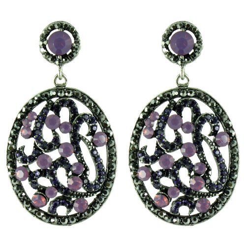 Purple On Antique Silver Precious Art Deco Princess Earrings front-547428