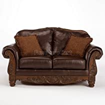 Big Sale Brown Leather North Shore Loveseat