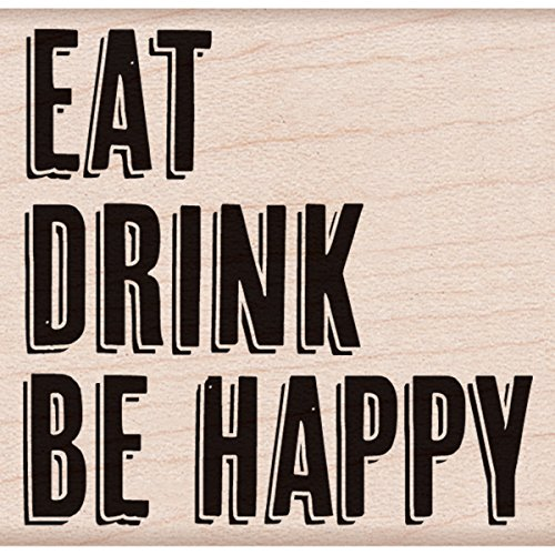 "Hero Arts Eat Drink Be Happy Mounted Rubber Stamp, 2"" by 2"" - 1"