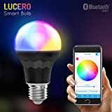 Lucero Smart LED Bluetooth A19 Light Bulb - 7.5W 60W Equivalent - RGB Multi Colored - Smartphone Controlled, Dimmable - works with iPhone, Android, Windows and Amazon Fire Phone & Tablet