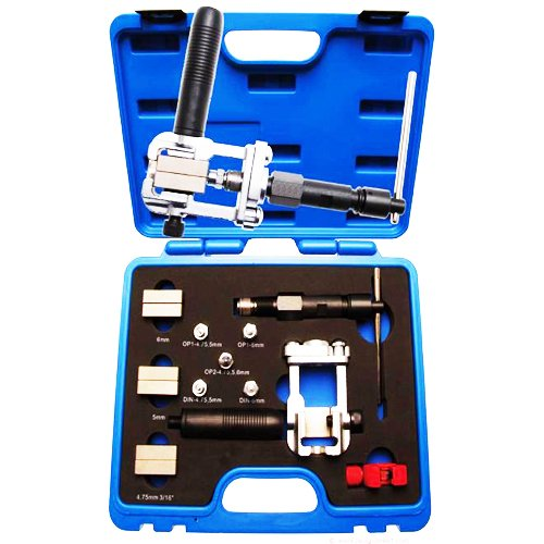 Universal Hydraulic Workshop Brake Pipe Flaring Tool Double Flange Device incl. Hydraulic Line Flaring According to DIN and SAE with Pipe Separator and Deburrer