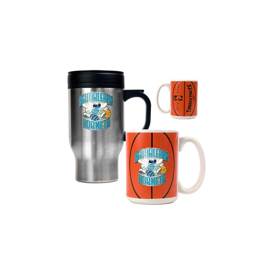 New Orleans Hornets NBA Stainless Steel Travel Mug & Gameball Ceramic Mug Set   Primary Logo