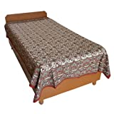 Block Printed Floral Bagru Print Design Cotton Flat Single Bed Sheet - B00GSSPMII