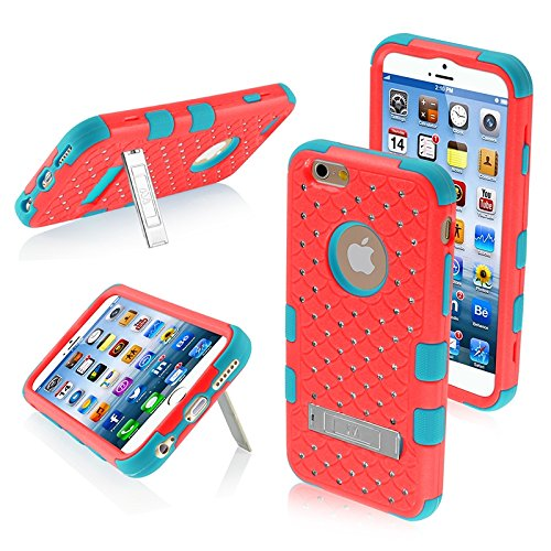 Mybat Natural Tuff Hybrid Phone Protector Cover With Diamonds And Kickstand For Iphone 6 - Retail Packaging - Baby Red/Tropical Teal