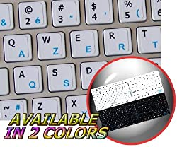 MAC ENGLISH-BELGIAN FRENCH KEYBOARD STICKERS ON WHITE BACKGROUND
