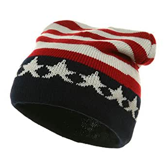 MG USA Flag Patriotic Knitted Beanie Cap Hat (Red/White/Blue)