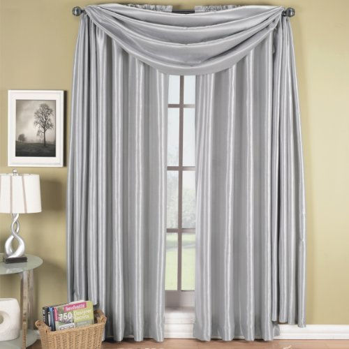 Soho Silver Rod Pocket Window Curtain Panel, Solid Pattern, 42X84 Inches, By Royal Hotel front-435080
