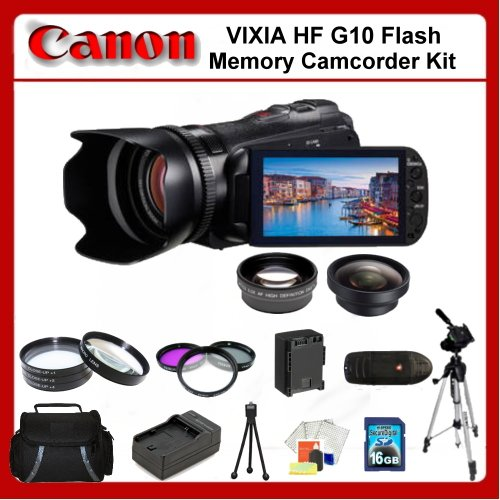 Canon VIXIA HF G10 Flash Memory Camcorder Kit. Package Includes: 0.45x Wide Angle Lens, 2X Telephoto Lens, 3 Piece Filter Kit(UV-CPL-FLD), 4 Piece Close Up Filter Set(+1,+2,+4,+10), 32Gb Memory Card, 67