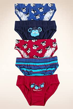 5 Pack - Younger Boys' Pure Cotton Monkey Slips