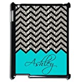Personalized Turquoise Chevron Pattern(NOT GLITTERY) IPAD 2 3 4 Best Durable Plastic Cover Case