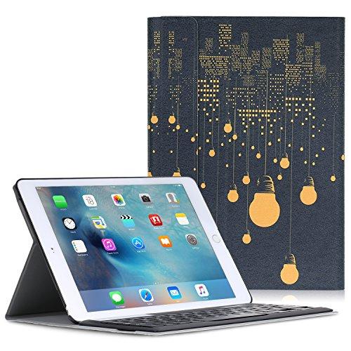 iPad Pro 9.7 ケース - ATiC Apple iPad Pro 9.7インチタブレット専用 Bluetoothキーボード型フォリオケース。町の夜景(iPad Pro 12.9 2015/iPad air 2に適応ない)