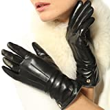 Elma Women's Touch Screen Italian Nappa Leather Winter Texting Gloves Pure Cashmere Warm Lining