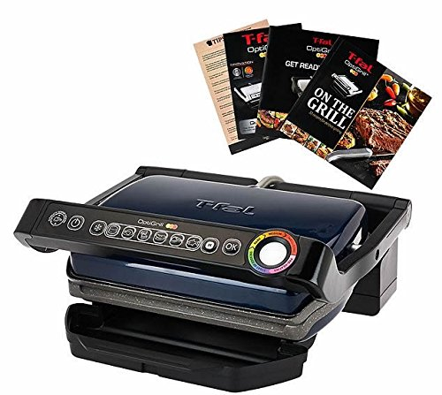 NEW T-Fal GC704 Indoor Opti Grill with Ceramic Plates & Recipe Book (Blue)