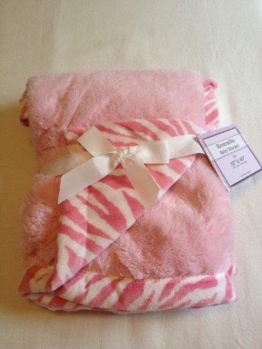 Pink Zebra Baby Blanket front-178933