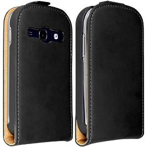 Membrane - Ultra Slim Black Vertical Case for Samsung Galaxy Fame (GT-S6810 / S6812 Duos / S6810P / GT-S6818 / GT-S6812C) - Flip Phone Cover + 2 Screen Protectors