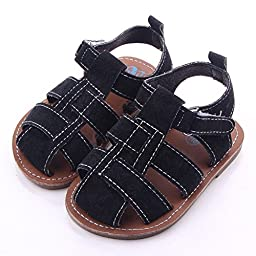 Frontonline Baby Boy First Walkers Soft Rubber Soled Anti-slip Fisherman Sandals Black 0-6 Month