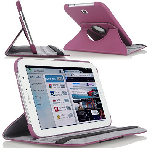 OMOTON 360 Degree Rotating Stand Leather Cover Case for Samsung Galaxy Tab 3 7.0 inch SM-T210 Tablet, Purple