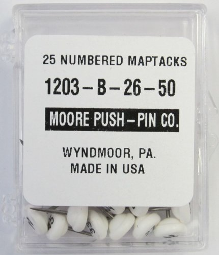 Moore Push-Pin 1203-B-26-50 Numbered Map Tacks, White, 25 Tacks per Pack (Map Pins Numbered compare prices)