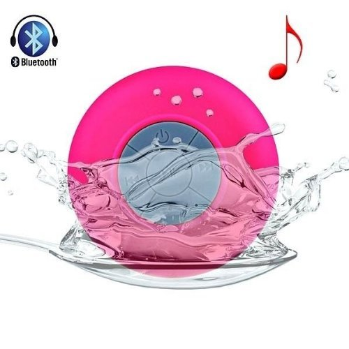 Mini Waterproof Wireless Bluetooth Speaker Shower Hands-Free Suction In-Car Mic (Pink)