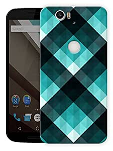 "Turquoise Checks Printed Designer Mobile Back Cover For ""Google Nexus 6 Plus"" By Humor Gang (3D, Matte Finish, Premium Quality, Protective Snap On Slim Hard Phone Case, Multi Color)"