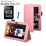 LUVCase - PU Leather Stand Case Cover Skin With Built-in Magnet Sleep / Wake Function Sensor + Screen Protector + ProPen Stylus Pen Touch Screen Pen For Amazon Kindle Fire 7 inch HD 2013 2nd Generation Version - Baby Pink