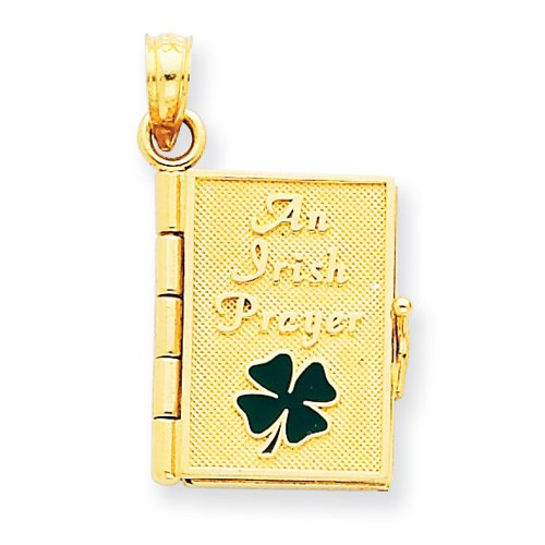 14K Enamel Irish Prayer Book Pendant