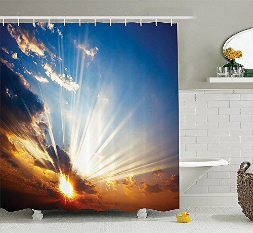 Apartment Decor Collection Sky View with Sun Rays Lights from the Bottom Mystic Illusions Vision Vibrant Scene Polyester Fabric Bathroom Shower Curtain Set Orange Blue